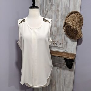 Gibson Latimer white tank, embellished shoulders